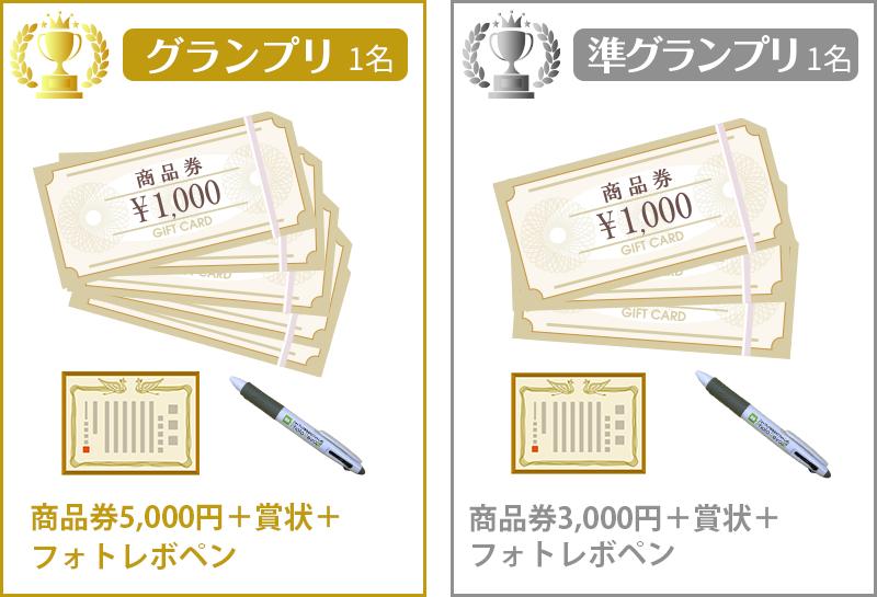 グランプリ1名、商品券5,000円+賞状+フォトレボペン。準グランプリ1名、商品券3,000円+賞状+フォトレボペン